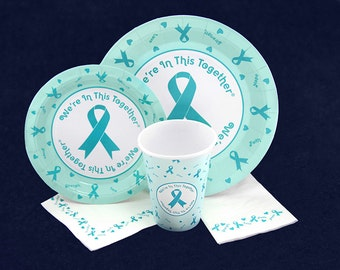 Teal Ribbon Paper Products Pack (105 Pieces) PPACK-3)