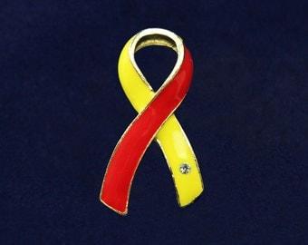 Large Red & Yellow Ribbon Pin (RE-P-04-28)