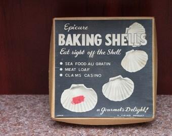 Vintage Epicure Baking Shells Boxed Set of Four (4) Shells 1960's