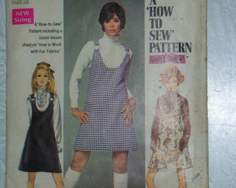 Simplicity Sewing pattern to make a 1969 Jumper Size Young Jr. Teen Size 5/6 Bust 28 Simple to Sew