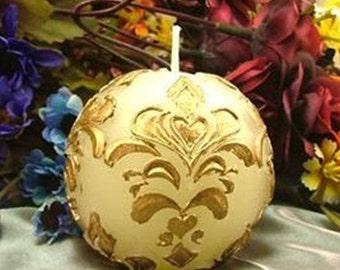 3D Fleur De Lis Round Ball Candle Mold Soap Mold Mould Silicone Mold DIY Handmade