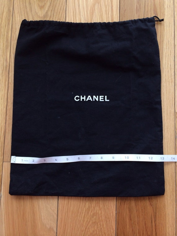 authentic chanel black large drawstring dust bag for