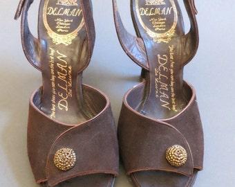 40s 50s Vintage DELMAN Shoes size 5 Brown Slingbacks