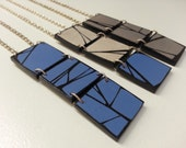 Abstract Artistic Necklace in Silver or Blue, Geometric Painted Wood Statement Jewelry Designed By HueWood