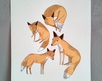 golden foxes - hand screen printed illustration