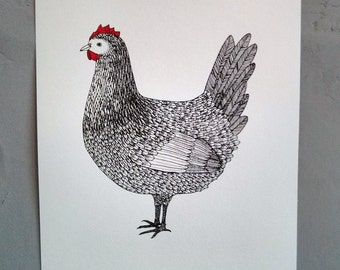fancy chicken - hand screen printed illustration