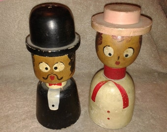 Vintage Wooden Man and Woman Salt and Pepper Shakers