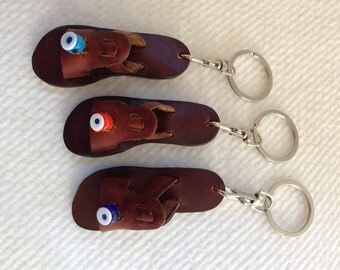ALYONE KEYCHAINS :Handmade Leather mini sandal model  keychains