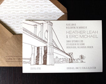 Brooklyn Wedding Letterpress Invitation Suite