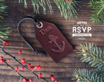 Custom Leather Luggage Tag, Initials Key Chain, Wedding Party Favor, Personalized Keychain, Leather Keyring, gift, Nautical, Anchor, Name