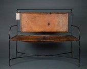 Genuine Leather and cast iron bench