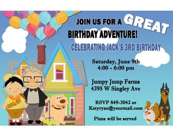 Up Birthday Party Invitations Digital File or Printed 3 Designs