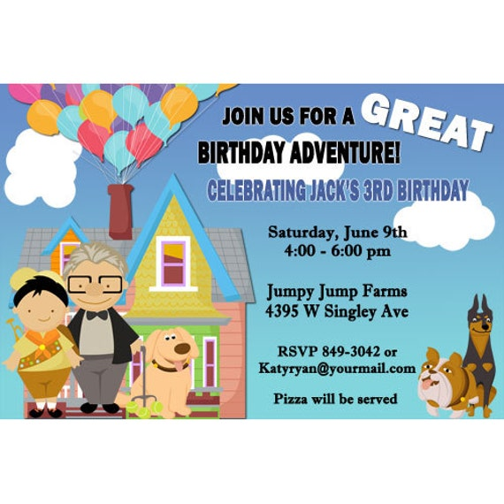 up birthday party invitations digital file or printed 3