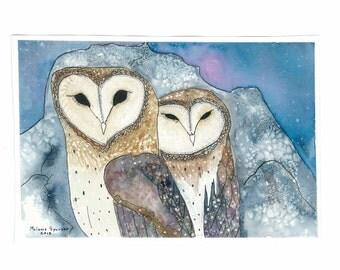 Barn Owl Couple watercolour archival  print  8 X 10