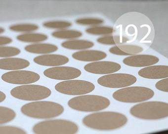 "192 Circle Kraft Stickers - 4 Full Sheets of 1.2"" Round Labels"