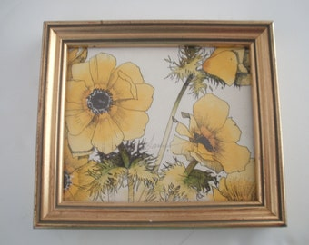 Hand Painted Engraving of Yellow Poppies