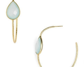 18K Gold Plated Sterling Silver Textured Hoop Dangle with Semi Precious Stones