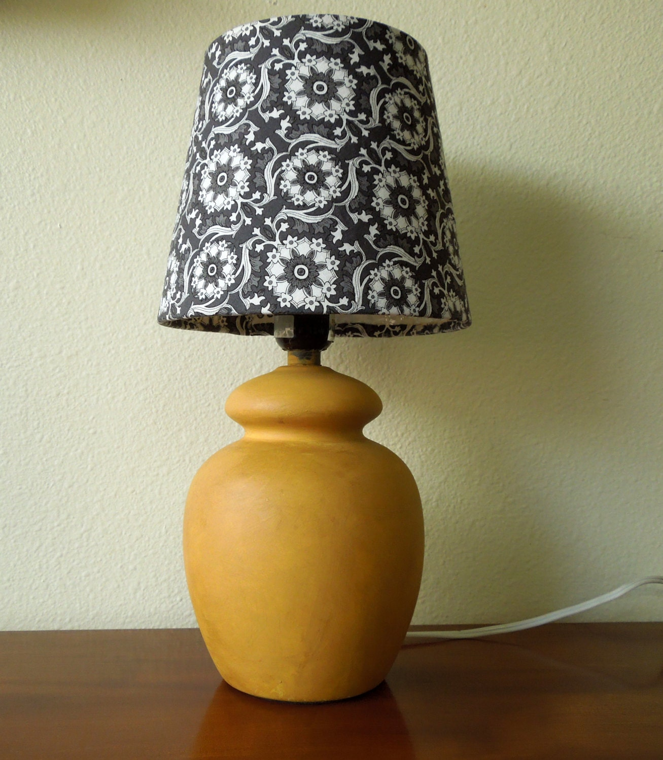 Mustard Yellow Chalk Paint Ceramic Lamp Base With Optional