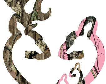 "6""  Browning style camo and pink camo heart shaped with 2 baby does decal sticker deer buck"