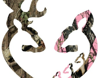 "6""  Browning style camo and pink camo heart shaped with 3 baby does decal sticker deer buck"