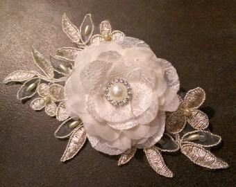 Champagne, Ivory, Gold Lace Flower Fascinator -  Wedding Fascinator, Ivory Flower Fascinator, Champagne Bridal Facinator