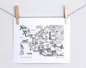 "Art Print. New York City Map 8"" x 10"" 11""x 14"" Illustration"
