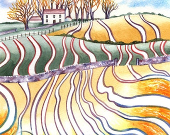 SCOTTISH CROFT Art Print Of Original Watercolour Painting from Scottish Artist.