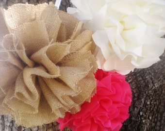 "9"", 10"", 11"" Fabric pom poms, burlap and lace, cream beige coral pink, CUSTOM COLORS available"