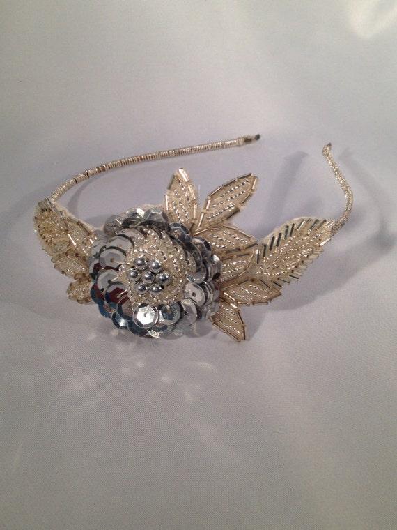 Bridal Headpiece, Art Deco Headband,Modern Vintage Headpiece, Fantasy Flower Crown, Vintage Flower Headband, Art Deco Headpiece- SILVER  LEA