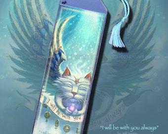 Angel Cat bookmark // Cat art bookmark // Fairy Cat bookmark // Angel cat memorial // Winged Cat bookmark // Cat lovers gift
