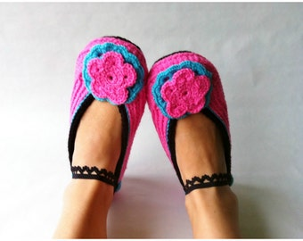 Pink Crochet Slippers with Black Edge and with Pink/Turquoise Flower,Accessories,Adult Crochet Slippers, Home Shoes, Crochet Women Slippers