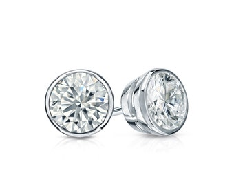 14k Gold Bezel Round Diamond Stud Earrings 0.62 ct. tw. (H-I, I1)