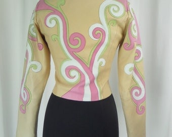 80s RARE Michael Hoban North Beach Leather psychedelic swirls lambskin leather fitted jacket: fits size 6-8