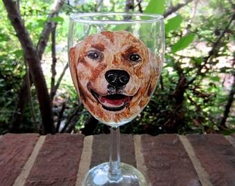 Hand Painted Golden Retriever Wine Glass