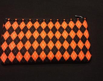 Orange and Black Argyle Pencil Case / Zipper Pouch #126