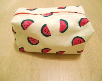 Hand painted, lined,  watermelon zip pouch
