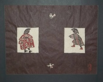 Japanese hand stenciled dyed print by Samiro Yunoki apprentice to National Living treasure Keisuke Serizawa, both now deceased.
