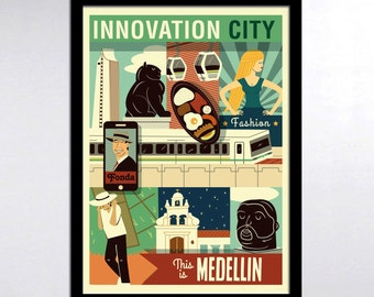 Medellin Innovation City Colombia Illustrated Story Poster Print
