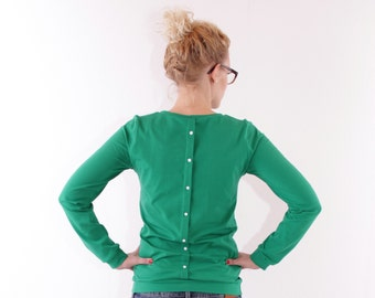 Sweater 'Heidemarie' placket / / grass green