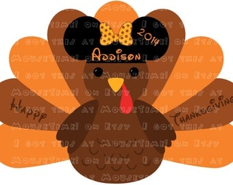 IRON-ON Thanksgiving Turkey WITH Ears (Minnie) - 2 Versions! - Mouse Ears Tshirt Transfer