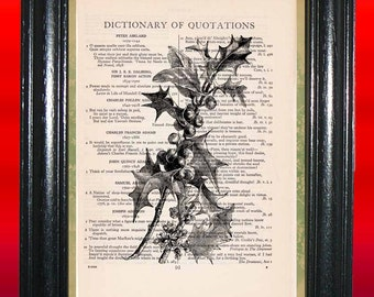 Kissing Beneath the Mistletoe Art Print - Vintage Dictionary Book Page Art Print Upcycled Page Art