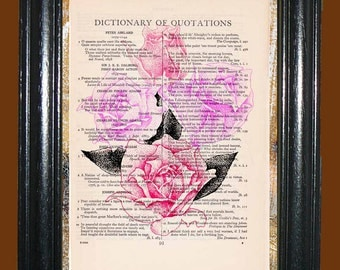 Pink Roses with Black Leaves - Vintage Dictionary Page Art Print Beautiful Upcycled Book Page Art Pink Roses Print