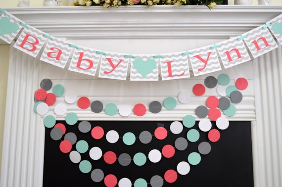 Baby shower decoration grey chevron baby name banner welcome - Baby deko mint ...