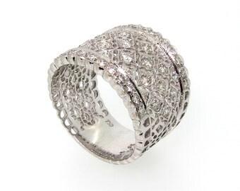 Wide Band Diamond Ring/Wedding Band