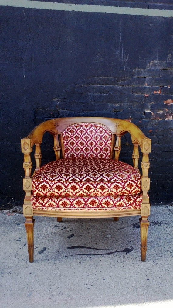 French Round Back Arm Chair Upholstered Red White By