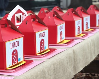 Set 15 Red Gable boxes with Thank You labels