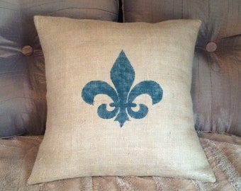 Custom made rustic country burlap Teal Fleur De Lis pillow cover/sham. Multiple sizes to choose.