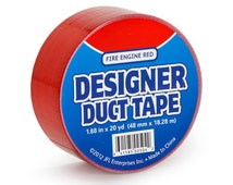 Fire Engine Red Designer Brand Duct Tape Roll for crafts and Party Supplies duck tape