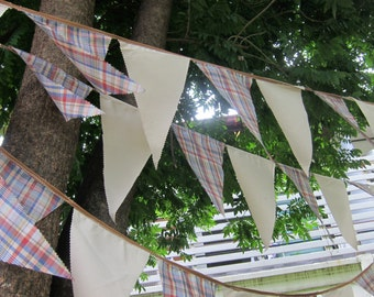 Rustic bunting banner - rustic bunting by the yard - rustic banner - cotton pennants - barn wedding - rustic wedding bunting - rustic decor