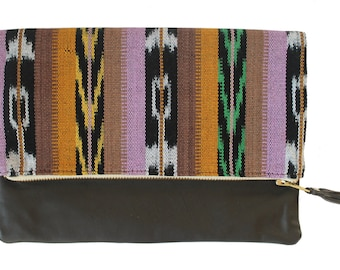 Mara Multi Ikat and Leather Clutch